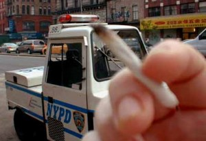 joint in front of NYPD hbtv hemp beach tv
