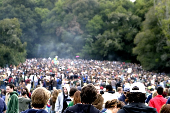 croud of marijuana smokers hbtv hemp beach tv
